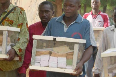 Ballot boxes for Mali's presidential election (file photo).