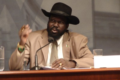 Kiir addressing an audience at the Woodrow Wilson Center.