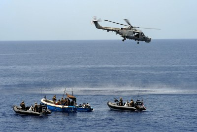 Western naval forces intercept a skiff carrying suspected pirates in the Gulf of Aden (file photo)..