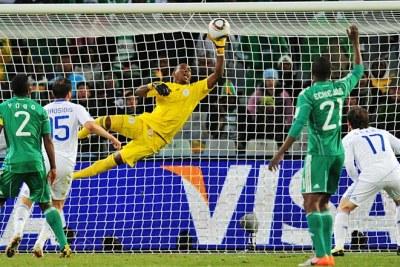 Vincent Enyeama of Nigeria saves a close range shot