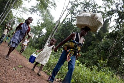 Refugees from Côte d'Ivoire walk along a forest trail (file photo).