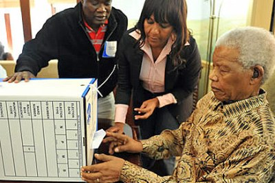 Former President Nelson Mandela, 92, cast a special vote at his home two days before South Africa's 2011 local government polls.