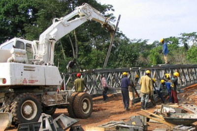 A bridge construction site in Angola. In exchange for access to Africa's resources, China is investing in infrastructure projects on the continent (file photo).