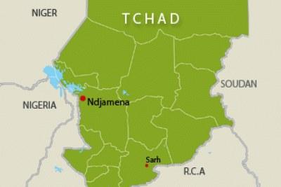 La carte géographique du Tchad