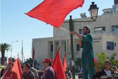 Protesters at an Occupy protest in Tunisia.