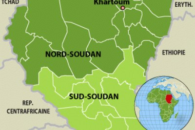 A map of Sudan and South Sudan
