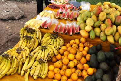 A fruit vendor's stand in Nairobi.