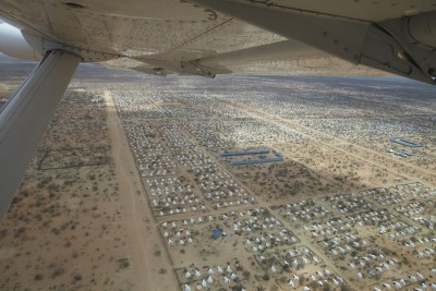 An aerial view of the world's largest refugee camp, Dadaab, located on the border of Kenya and Somalia. During the Horn of Africa food crisis in 2011, just 28% of the UN funding appeal requirements for Somalia had been met weeks before famine was declared.