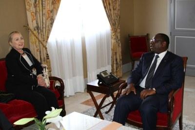 La secrétaire d'Etat américaine Hillary Clinton avec le président sénégalais Macky Sall - Dakar Aout 2012
