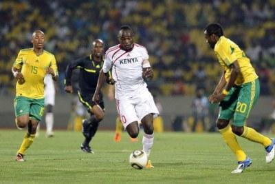 Le kenya (en blanc) contre l'Afrique du Sud