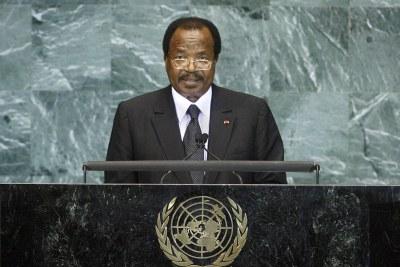 President Paul Biya addresses the United Nations (file photo)..