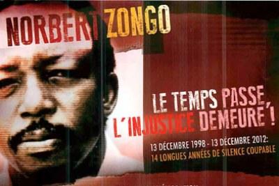 Affiche sur l'affaire Norbert Zongo ou drame de Sapouy