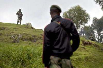 Des hommes armés à la frontière entre la RDC et le Rwanda