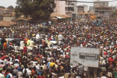 Protesting in Conakry.