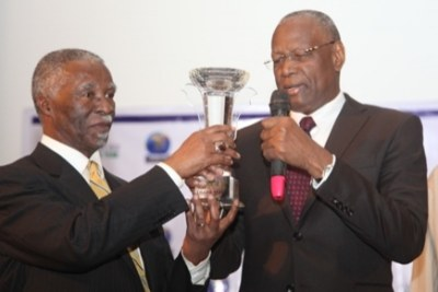 Thabo Mbeki accepting Daily Trust African of the Year Award