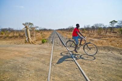 A railway track.