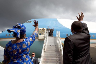 President Obama headed back to the U.S. with a refueling stop back in Senegal.