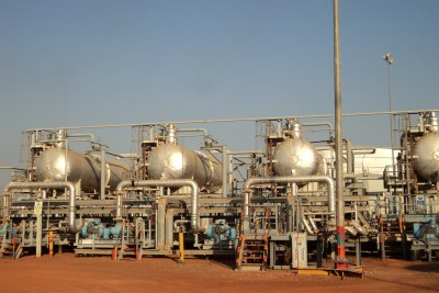 Oil storage facilities at Bentiu, Unity State, South Sudan.