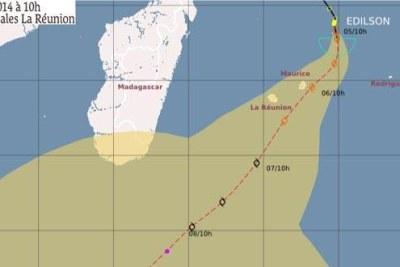 La trajectoire de la tempête tropicale modérée Edilson selon Météo France.