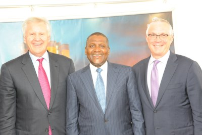 GE Global Chairman/CEO and Jay Ireland with billionaire businessman and industrialist Aliko Dangote when the GE execs paid him a courtesy visit