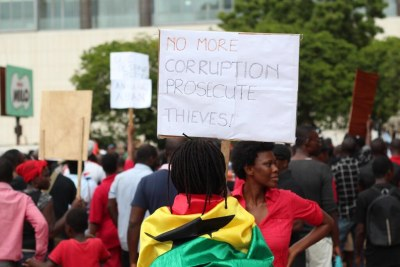 Marching to petition President John Mahama on what they call the worsening economic conditions in the country (file photo).