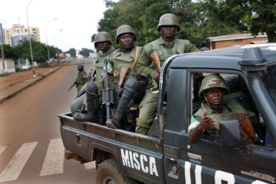 African Union MISCA troops from Cameroon patrol in Bangui, Central African Republic.