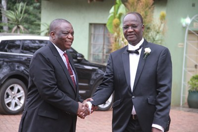 In happier times Jonathan Moyo (right) and Vice President Constantino Chiwenga (file photo).