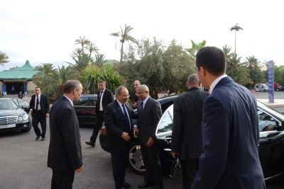 The Prime Minister of Cape Verde, José Maria Neves, arrives at the Palais des Congres for the 9th African Development Forum in Marrakech, Morocco. He is met by Executive Secretary of UNECA, Dr. Carlos Lopes.