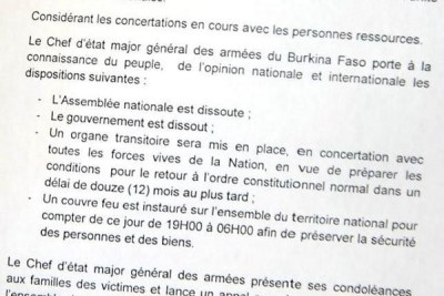 Communique issued by Army Chief of Staff in Burkina Faso, General Honore Traore