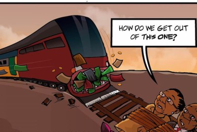 A cartoonist illustrates the alleged debacle in which South Africa's passenger rail authority bought locomotives which are too tall for the country's system.
