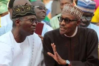 Former Lagos Governor Babatunde Fashola with President Muhammadu Buhari