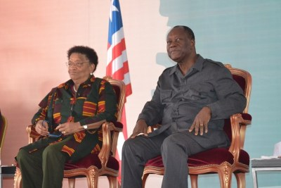 Presidents Sirleaf and Quattara at epoch-making occasion in Cote d'Ivoire.