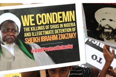 Protesters protest release of Ibrahim Zakzaky.