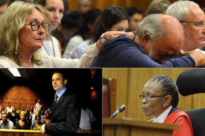 Barry and June Steenkamp, top, Oscar Pistorius, bottom-left, and Judge Thokozile Masipa, bottom-right.