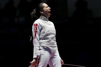 Inès Boubakri la tunisienne médaillee de bronze au fleuret individuel féminin aux Jeux Olympiques, Rio 2016.