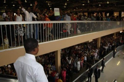 Prophet Shepherd Bushiri speaks to his congregation (file photo).