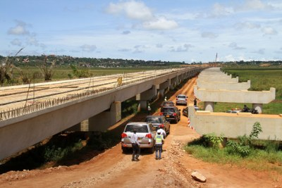 A section of the Kampala-Entebbe Expressway under construction.