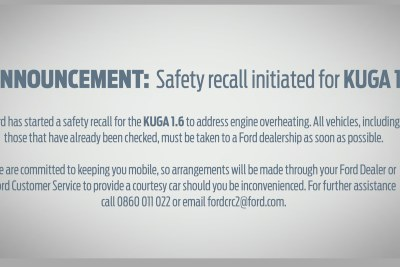 Ford South Africa has recalled its Kuga 1.6 vehicles after more than 40 fires.
