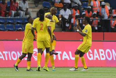 Zimbabwe Warriors celebrating a goal against Algeria (file photo).