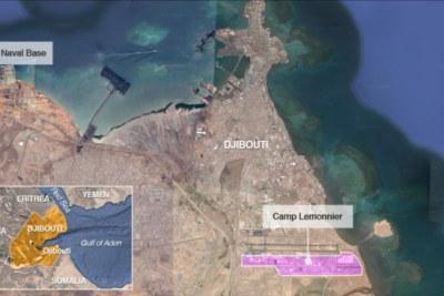 A Chinese naval base and U.S. base Camp Lemonnier, in Djibouti.