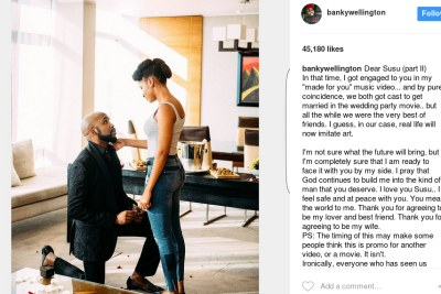 Banky W and Adesua Etomi are engaged.
