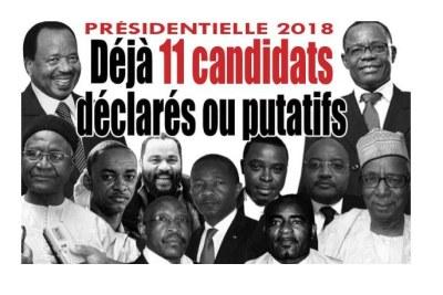 Paul Biya (top left) Maurice Kamto (top right).