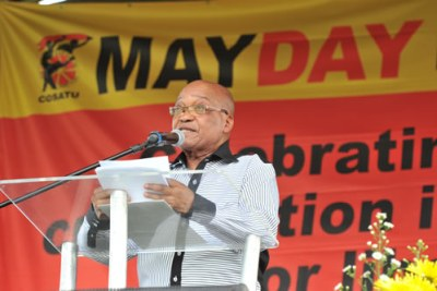 President Zuma speaks at Cosatu May Day rally (file photo).