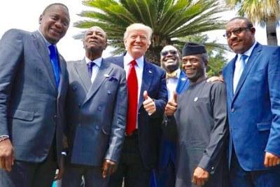 Les dirigeants africains rencontrent le président américain Donald Trump en marge du sommet du G7 en Italie en 2017.