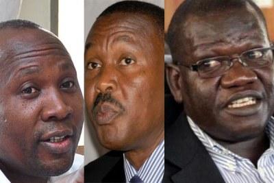 L-R: Mr Nathan Nandala Mafabi, Maj Gen Mugisha Muntu and Mr Patrick Amuriat Oboi.