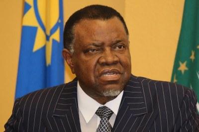 Le Président  namibien Hage Geingob.