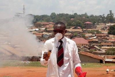 Samuel Mugarura testing his teargas.