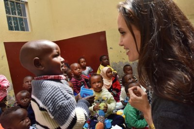 UNHCR Special Envoy Angelina Jolie meets children and siblings of vulnerable female refugees in Nairobi.