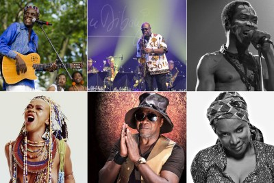 Zimbabwe's Oliver Mtukudzi, Cameroon's Manu Dibango, Nigeria's Fela Kuti, South Africa's Brenda Fassie, DR Congo's Papa Wemba and Beninese's Angélique Kidjo.