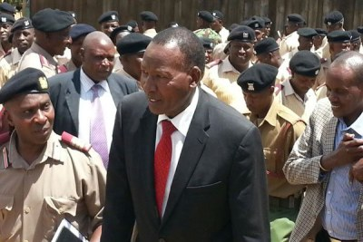 The late Interior Cabinet Secretary Joseph Nkaissery after meeting administrators in Narok County (file photo).